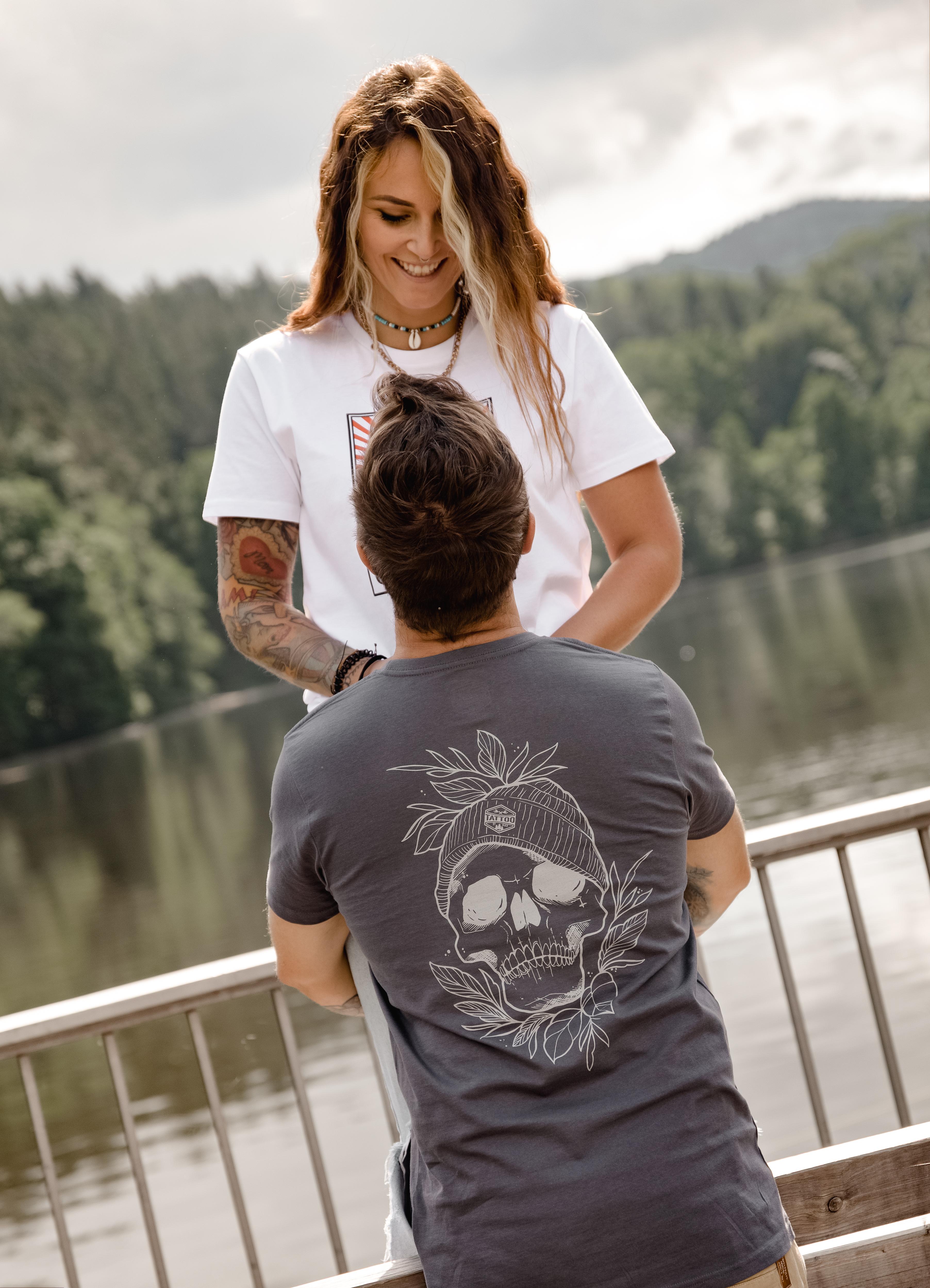 T-Shirt Skull Girls grau