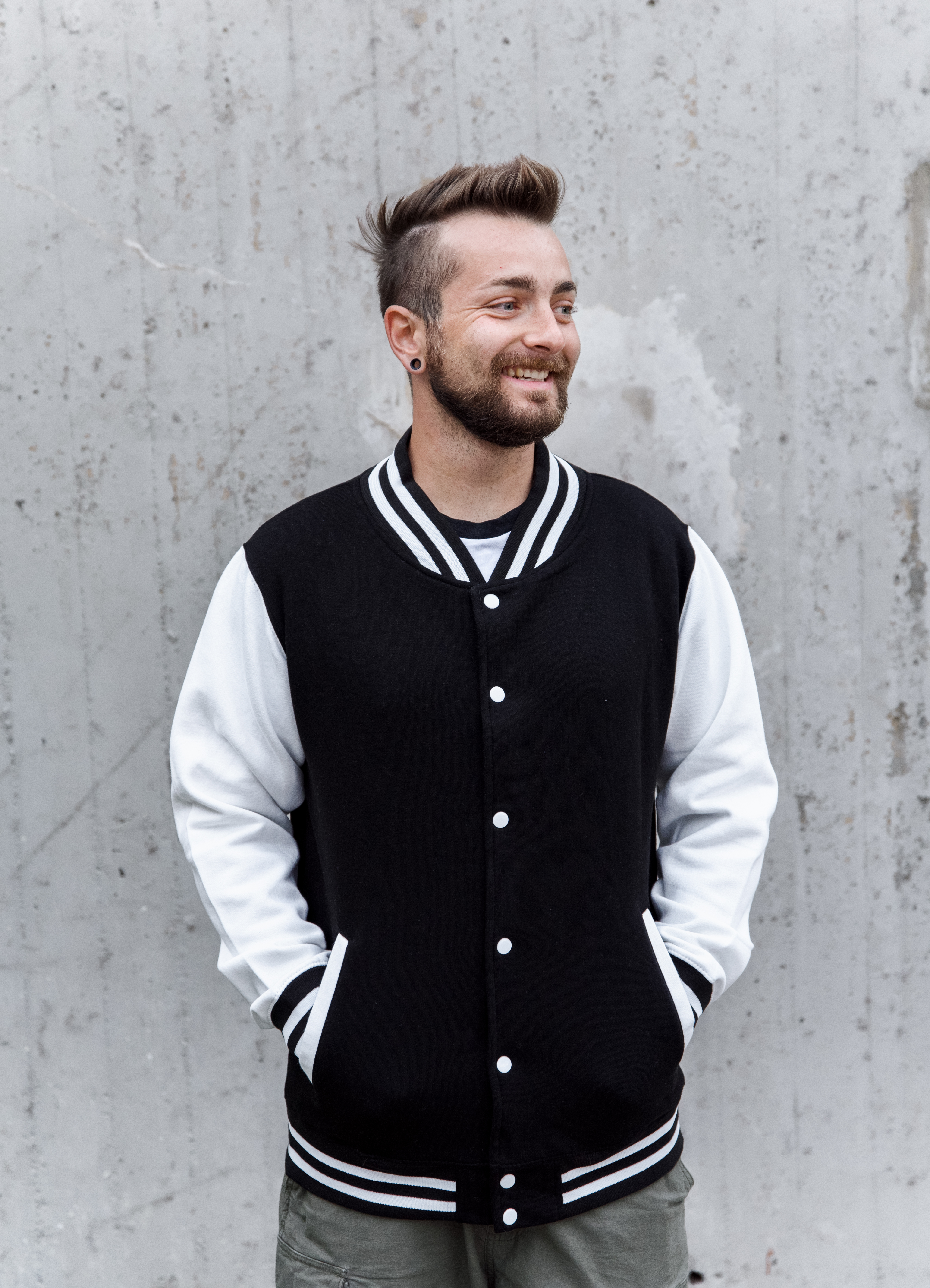Baseball Jacke schwarz/weiss Men